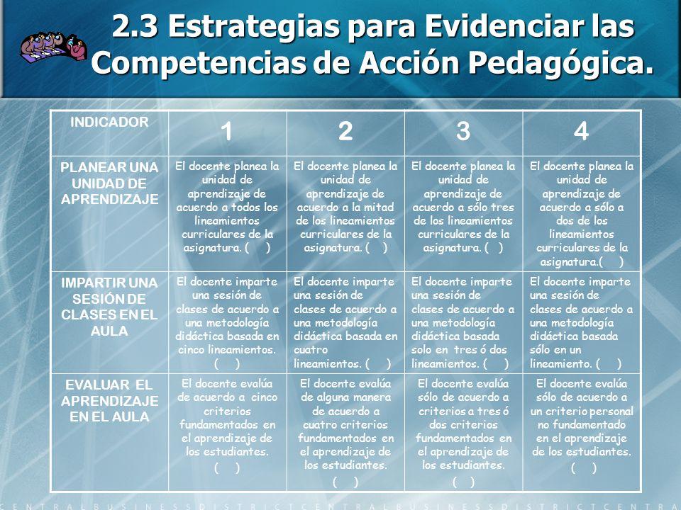 2.3 Estrategias para Evidenciar las Competencias de Acción Pedagógica.