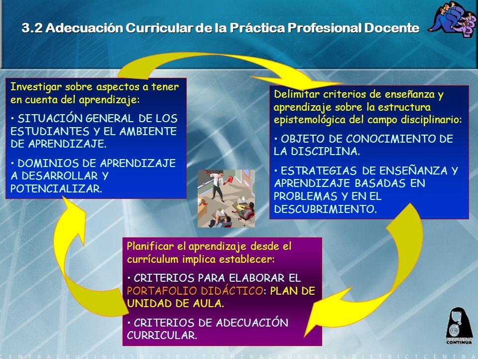 3.2 Adecuación Curricular de la Práctica Profesional Docente