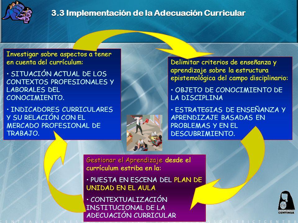 3.3 Implementación de la Adecuación Curricular