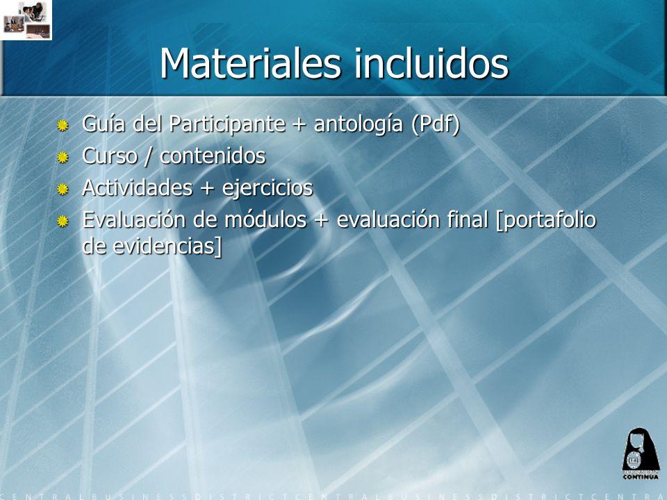 Materiales incluidos Guía del Participante + antología (Pdf)