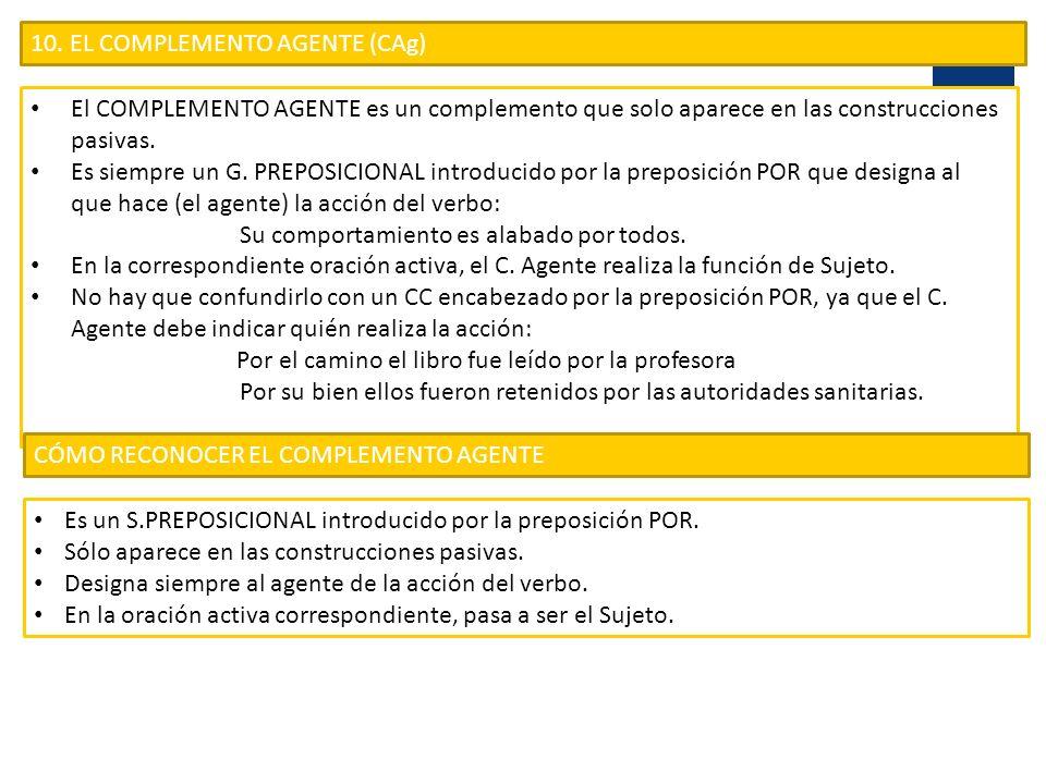 10. EL COMPLEMENTO AGENTE (CAg)