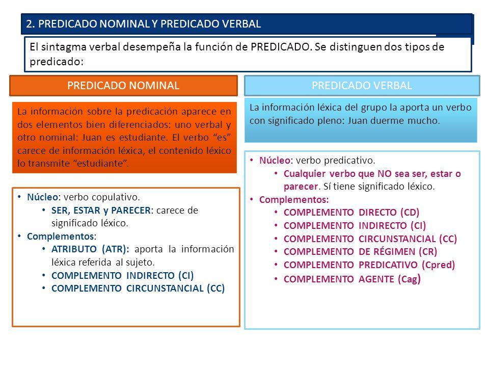 2. PREDICADO NOMINAL Y PREDICADO VERBAL