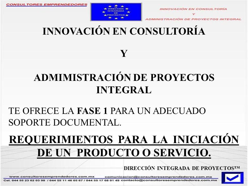INNOVACIÓN EN CONSULTORÍA ADMIMISTRACIÓN DE PROYECTOS INTEGRAL