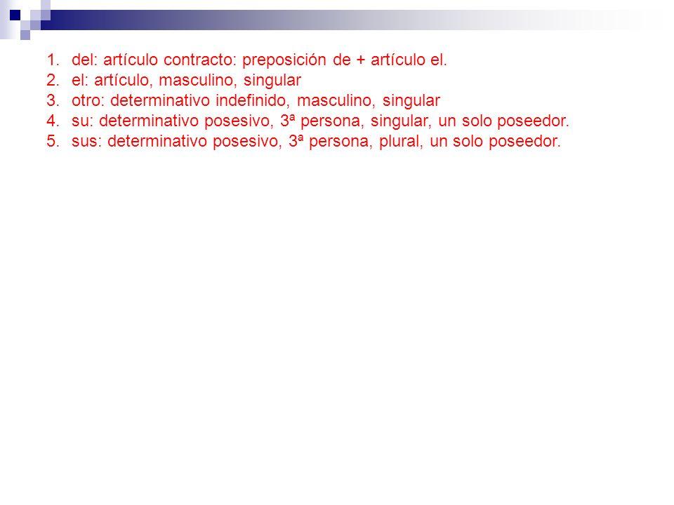 del: artículo contracto: preposición de + artículo el.