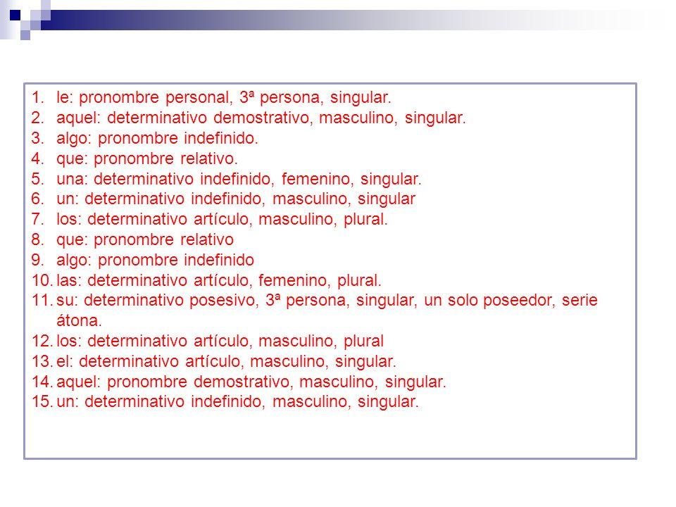 le: pronombre personal, 3ª persona, singular.