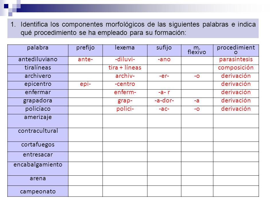 Identifica los componentes morfológicos de las siguientes palabras e indica qué procedimiento se ha empleado para su formación: