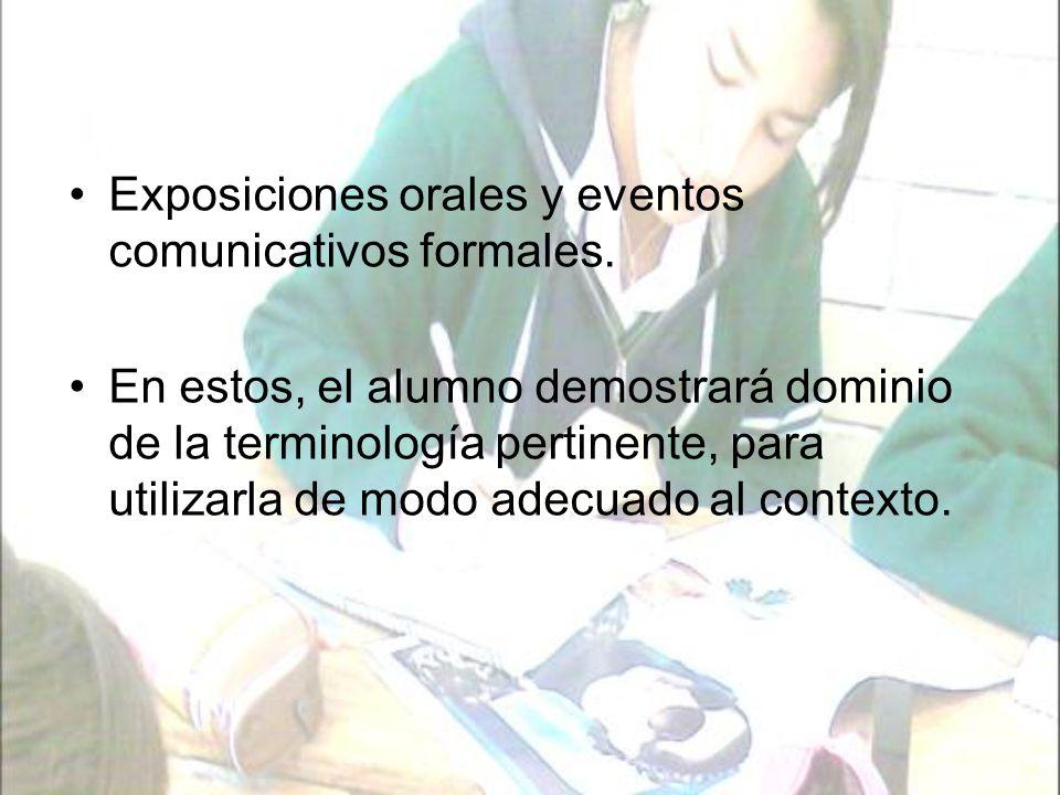 Exposiciones orales y eventos comunicativos formales.