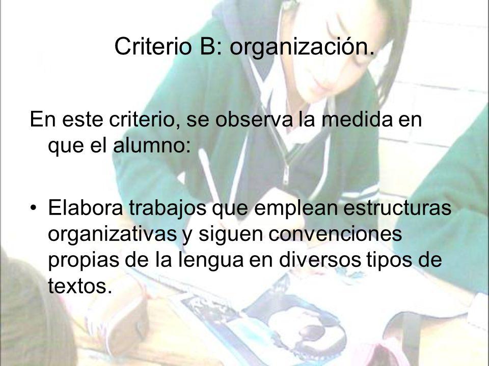 Criterio B: organización.