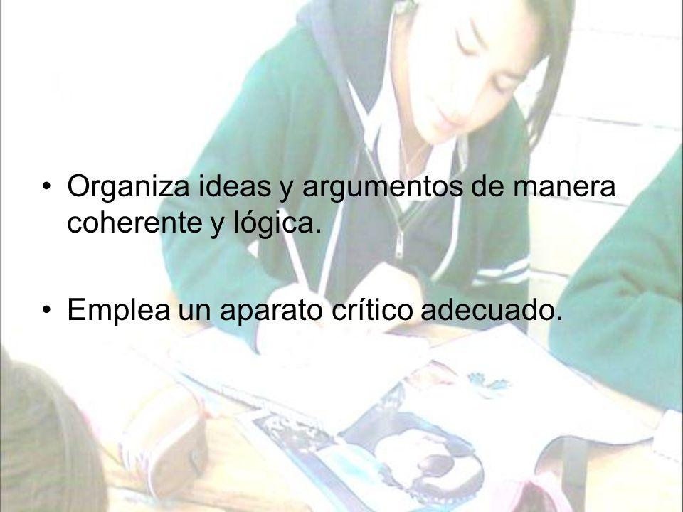 Organiza ideas y argumentos de manera coherente y lógica.