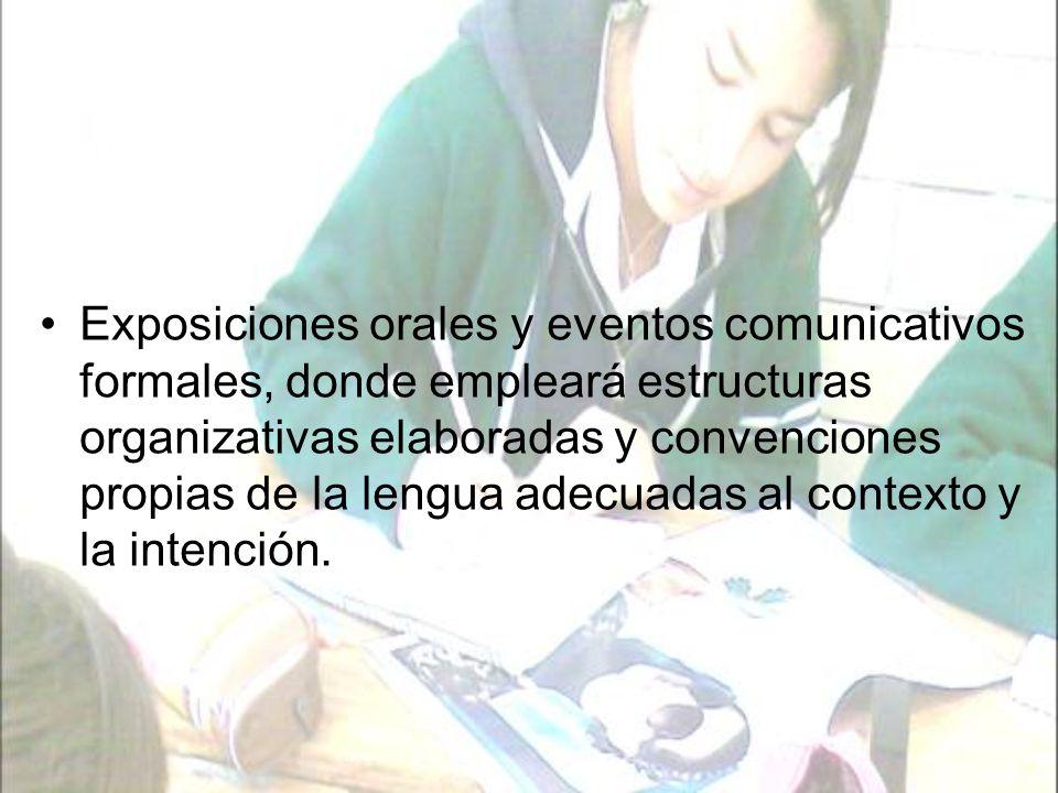 Exposiciones orales y eventos comunicativos formales, donde empleará estructuras organizativas elaboradas y convenciones propias de la lengua adecuadas al contexto y la intención.