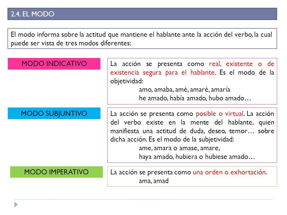 2.4. EL MODO El modo informa sobre la actitud que mantiene el hablante ante la acción del verbo, la cual puede ser vista de tres modos diferentes: