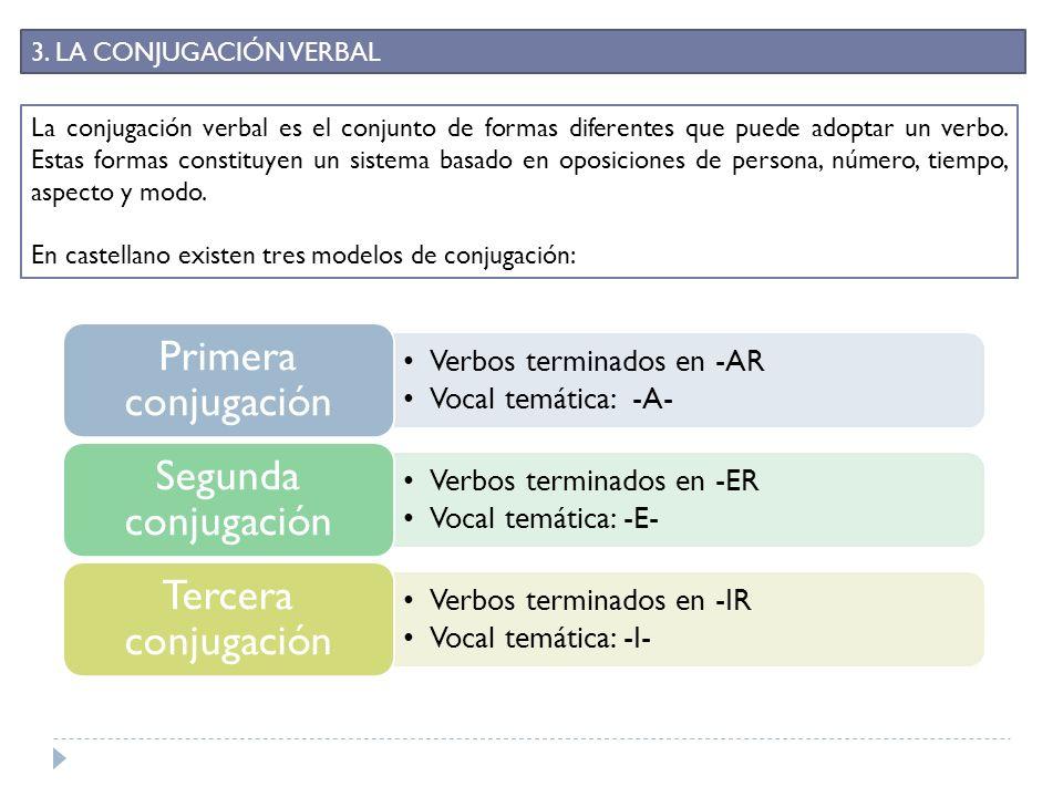 En castellano existen tres modelos de conjugación: