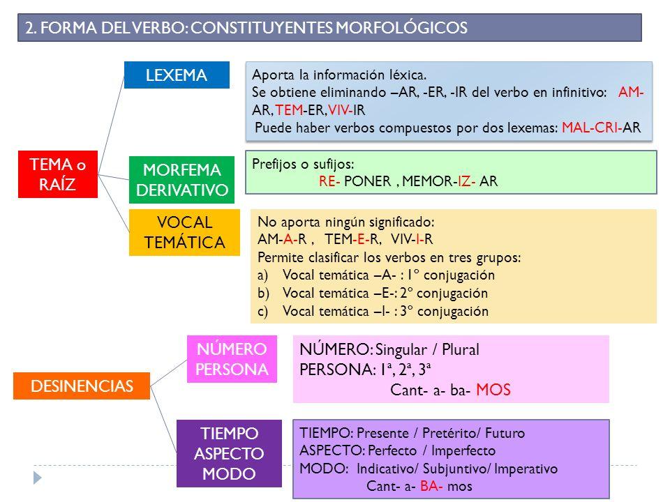 Puede haber verbos compuestos por dos lexemas: MAL-CRI-AR