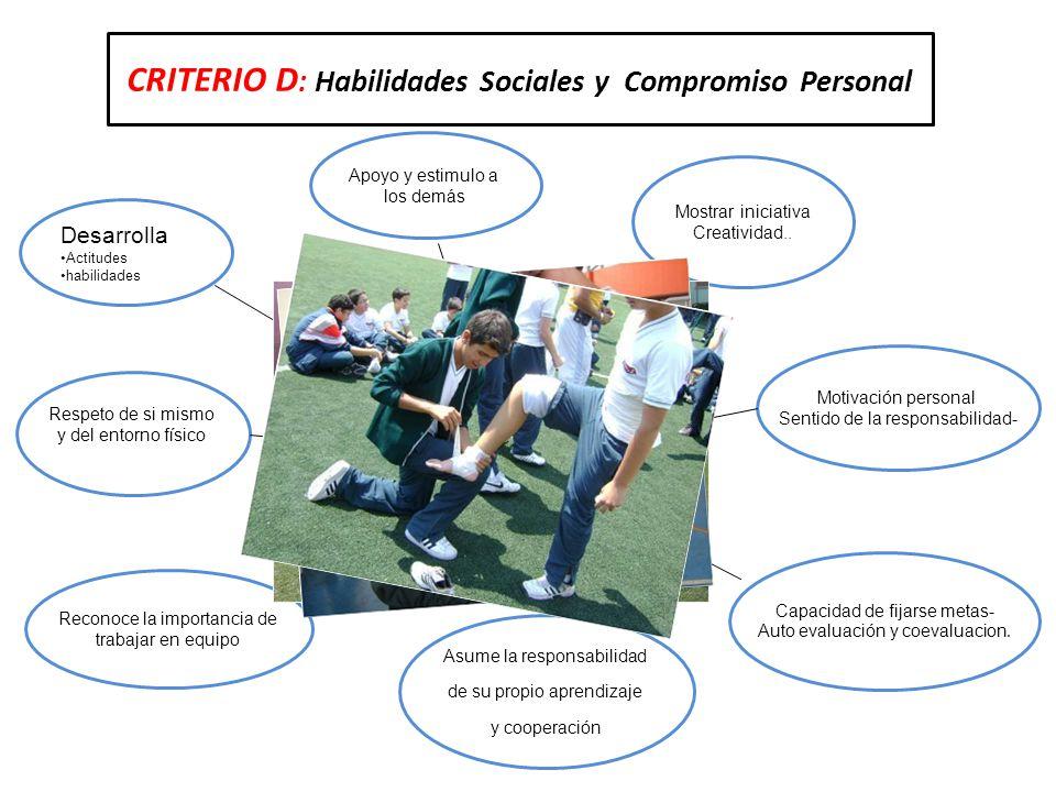 CRITERIO D: Habilidades Sociales y Compromiso Personal