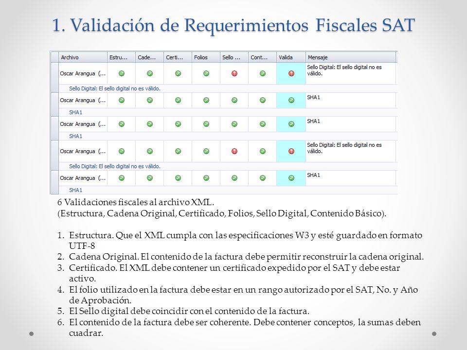1. Validación de Requerimientos Fiscales SAT