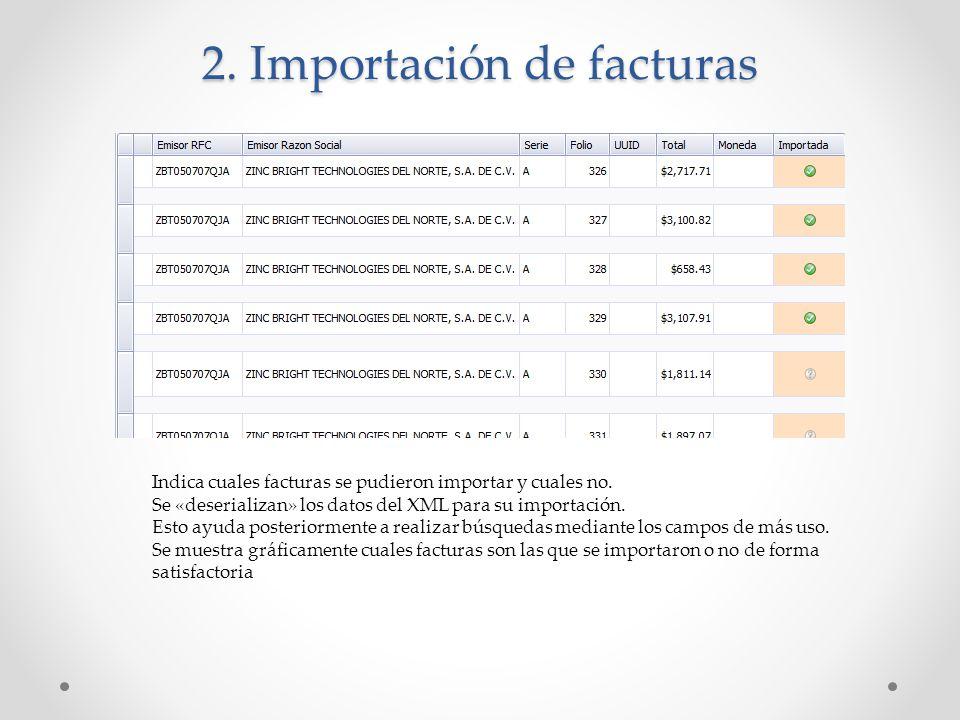 2. Importación de facturas