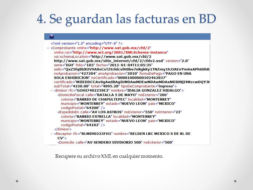 4. Se guardan las facturas en BD