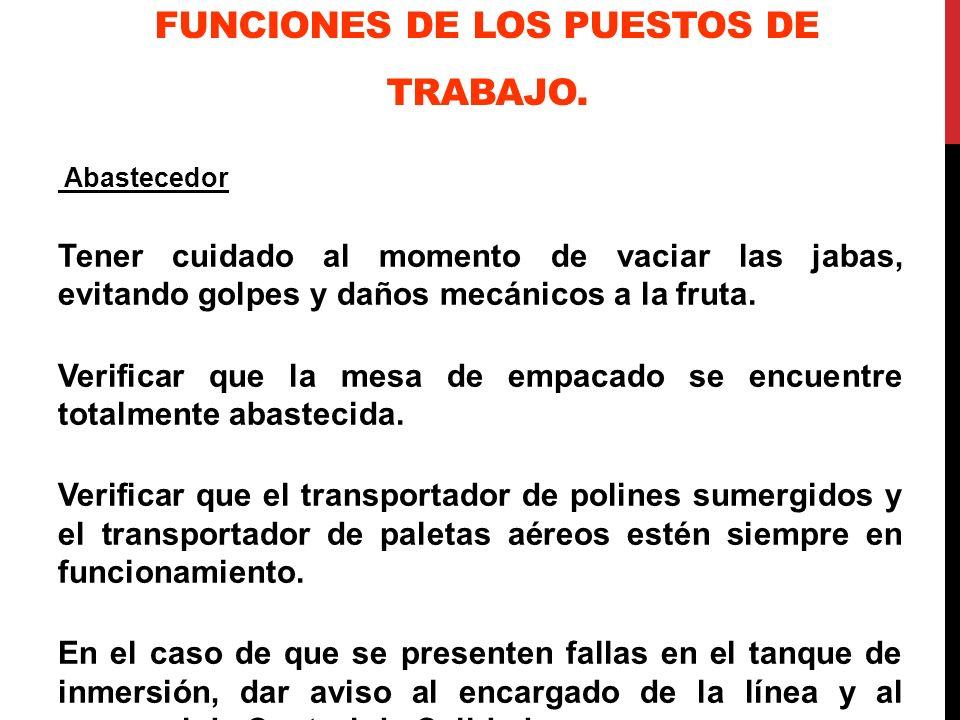 FUNCIONES DE LOS PUESTOS DE TRABAJO.