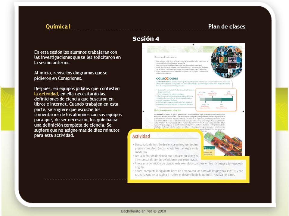 Química I Plan de clases Sesión 4