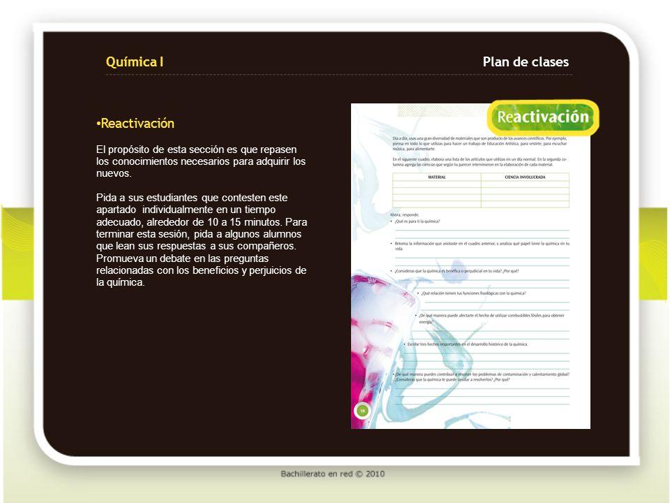 Química I Plan de clases Reactivación