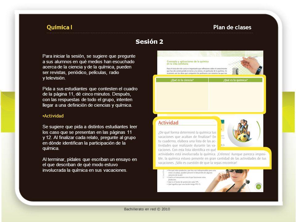 Química I Plan de clases Sesión 2
