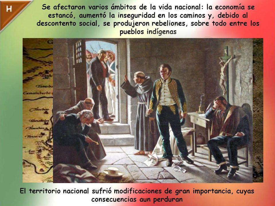 Se afectaron varios ámbitos de la vida nacional: la economía se estancó, aumentó la inseguridad en los caminos y, debido al descontento social, se produjeron rebeliones, sobre todo entre los pueblos indígenas