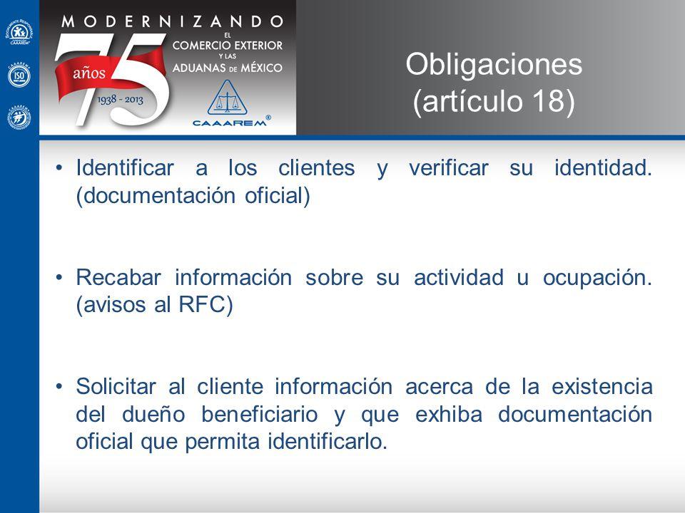 Obligaciones (artículo 18)