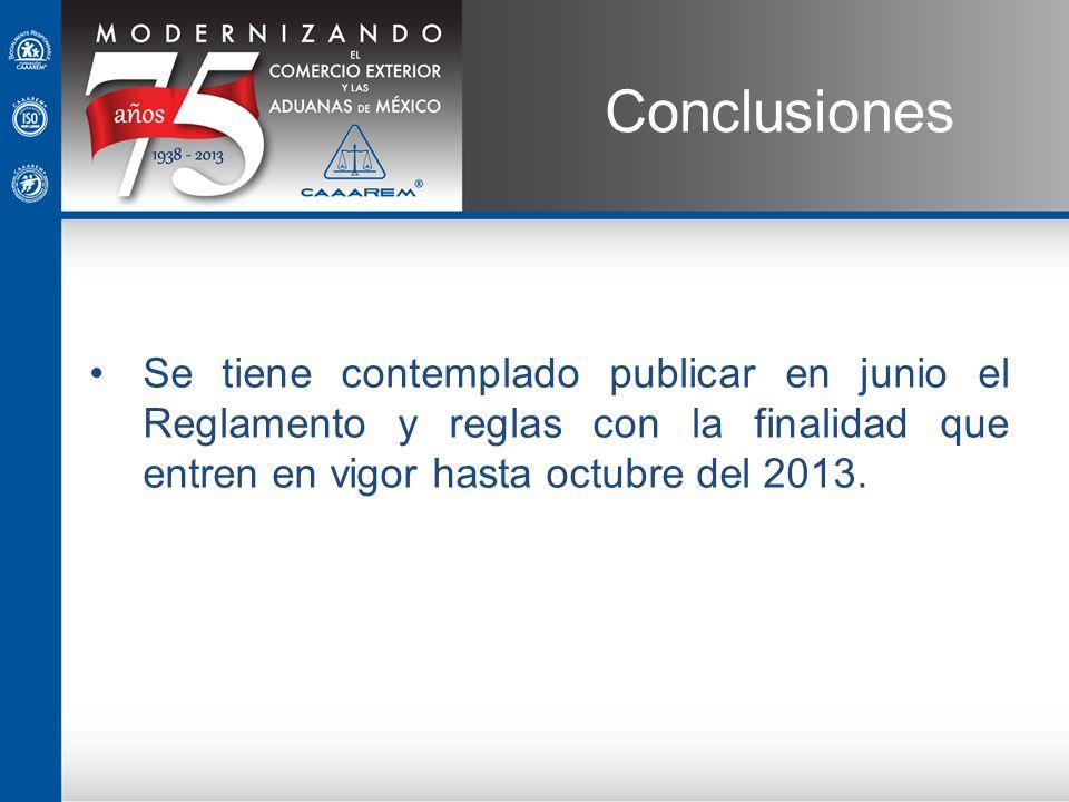 Conclusiones Se tiene contemplado publicar en junio el Reglamento y reglas con la finalidad que entren en vigor hasta octubre del 2013.