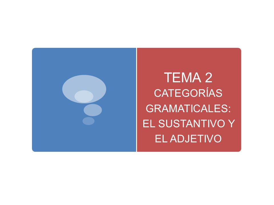 TEMA 2 CATEGORÍAS GRAMATICALES: EL SUSTANTIVO Y EL ADJETIVO