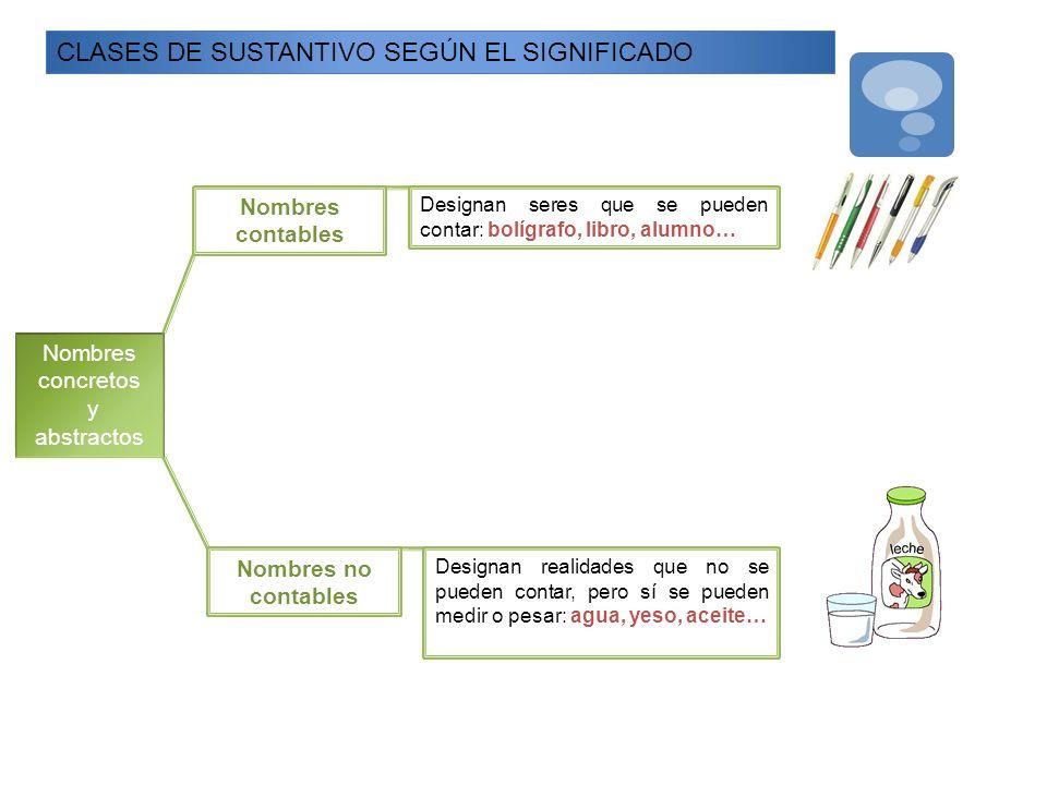 CLASES DE SUSTANTIVO SEGÚN EL SIGNIFICADO