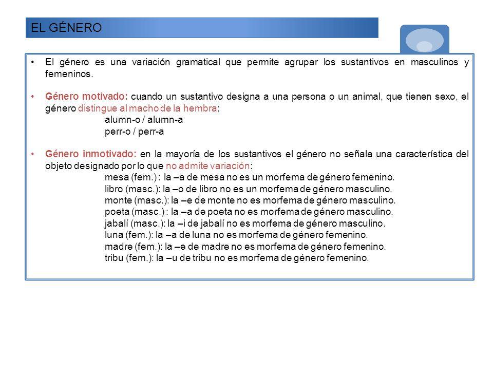 EL GÉNERO El género es una variación gramatical que permite agrupar los sustantivos en masculinos y femeninos.
