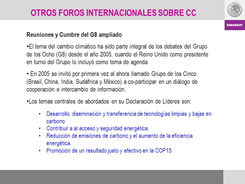 OTROS FOROS INTERNACIONALES SOBRE CC