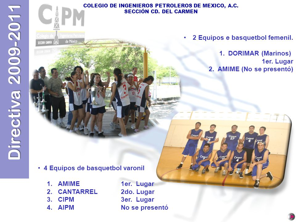 2 Equipos e basquetbol femenil.