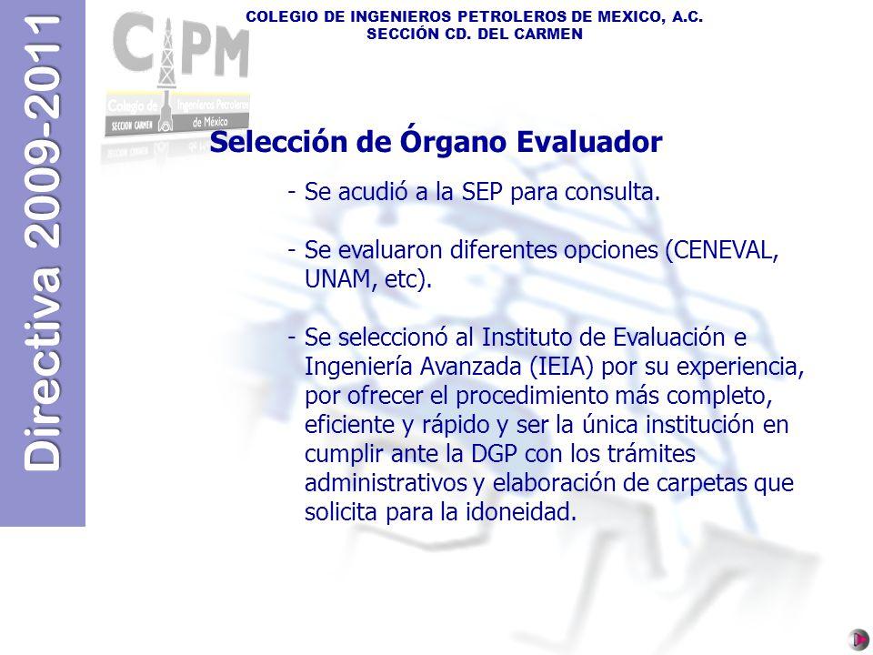 Selección de Órgano Evaluador