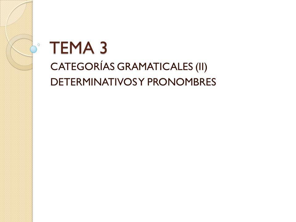 CATEGORÍAS GRAMATICALES (II) DETERMINATIVOS Y PRONOMBRES