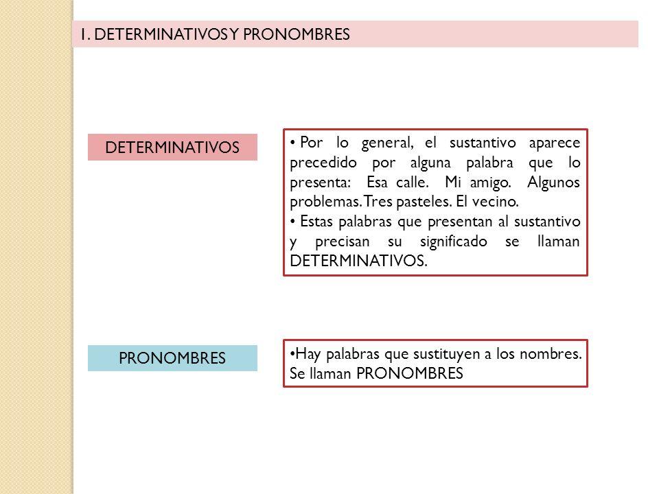1. DETERMINATIVOS Y PRONOMBRES