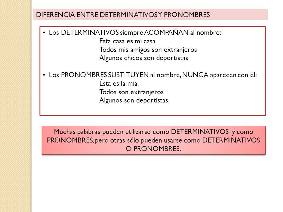 DIFERENCIA ENTRE DETERMINATIVOS Y PRONOMBRES