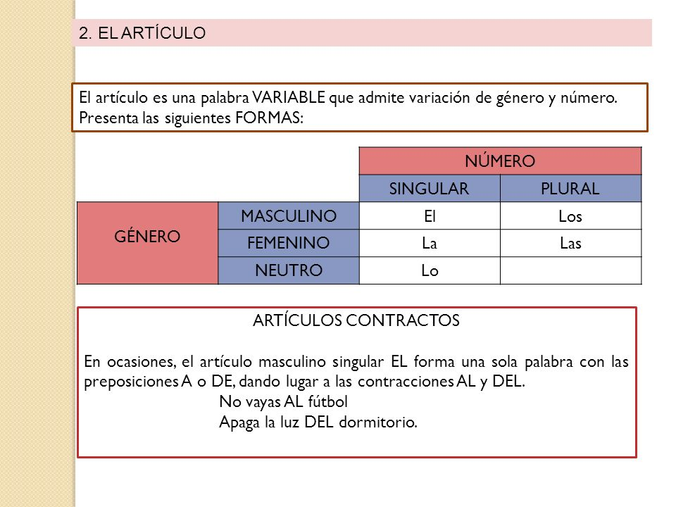 2. EL ARTÍCULO El artículo es una palabra VARIABLE que admite variación de género y número. Presenta las siguientes FORMAS: