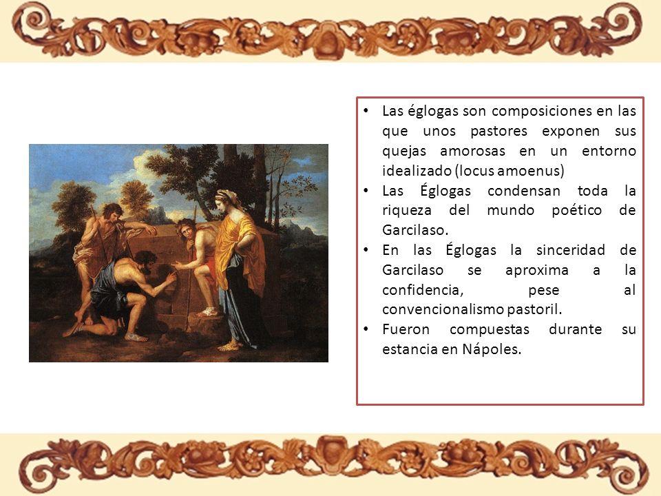 Las églogas son composiciones en las que unos pastores exponen sus quejas amorosas en un entorno idealizado (locus amoenus)