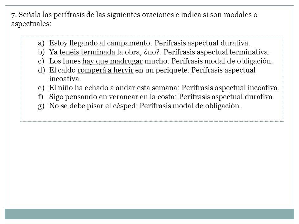 7. Señala las perífrasis de las siguientes oraciones e indica si son modales o aspectuales: