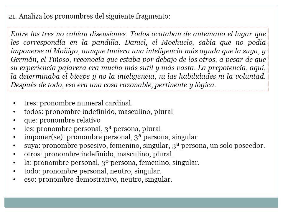 21. Analiza los pronombres del siguiente fragmento: