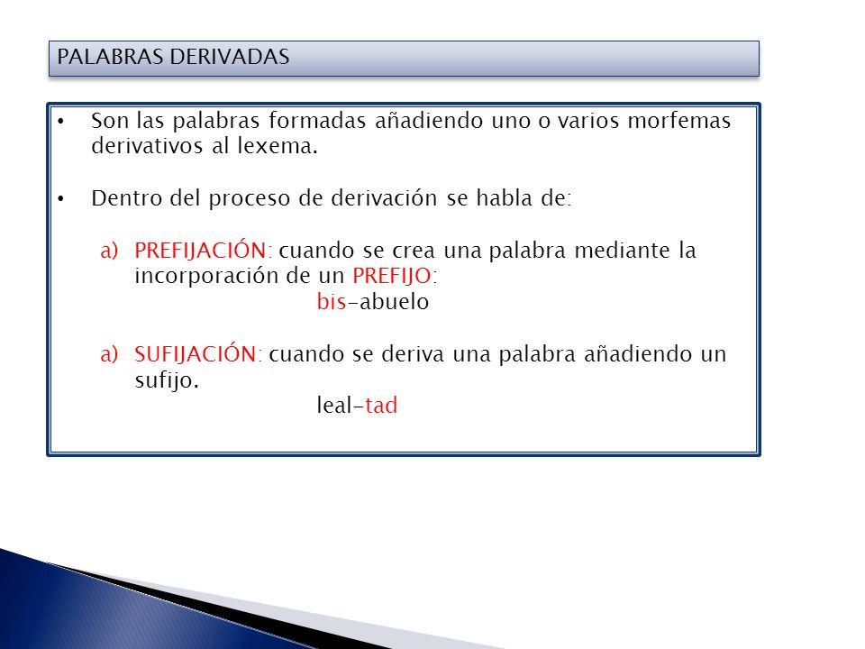 PALABRAS DERIVADAS Son las palabras formadas añadiendo uno o varios morfemas derivativos al lexema.