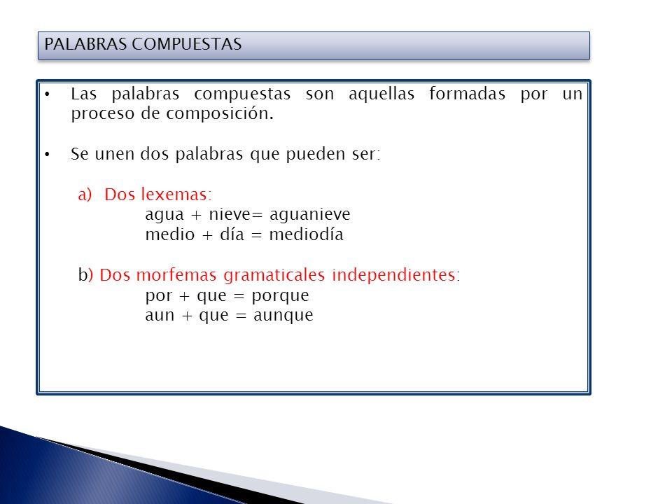 PALABRAS COMPUESTAS Las palabras compuestas son aquellas formadas por un proceso de composición. Se unen dos palabras que pueden ser: