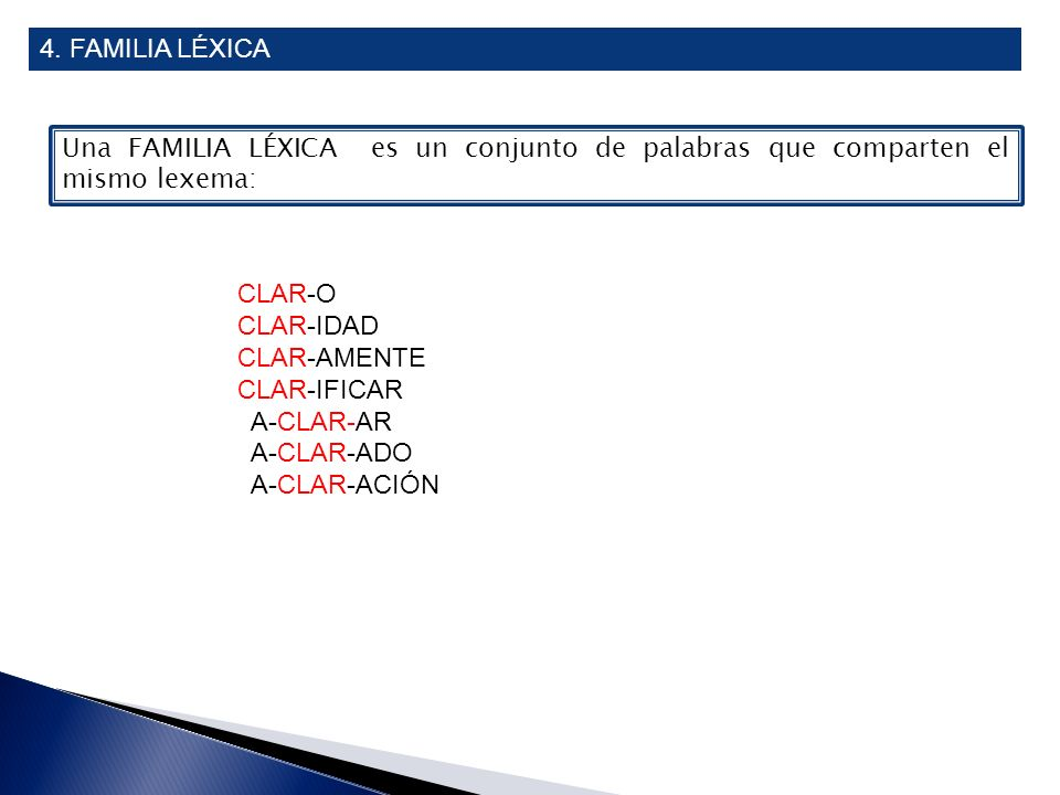 4. FAMILIA LÉXICA Una FAMILIA LÉXICA es un conjunto de palabras que comparten el mismo lexema: CLAR-O.