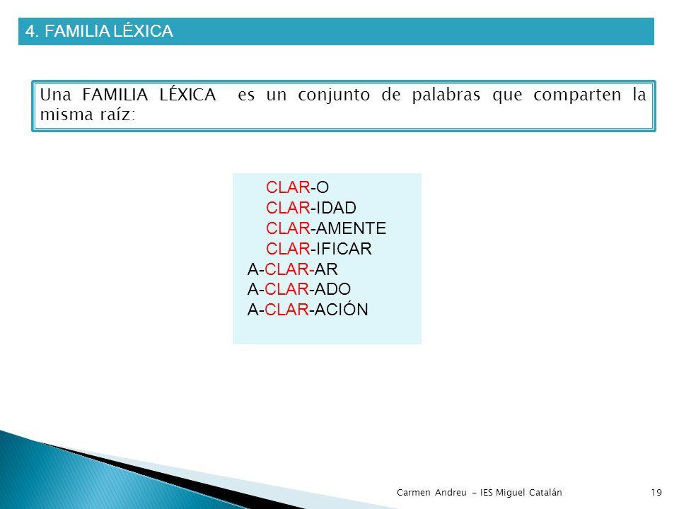 4. FAMILIA LÉXICA Una FAMILIA LÉXICA es un conjunto de palabras que comparten la misma raíz: CLAR-O.