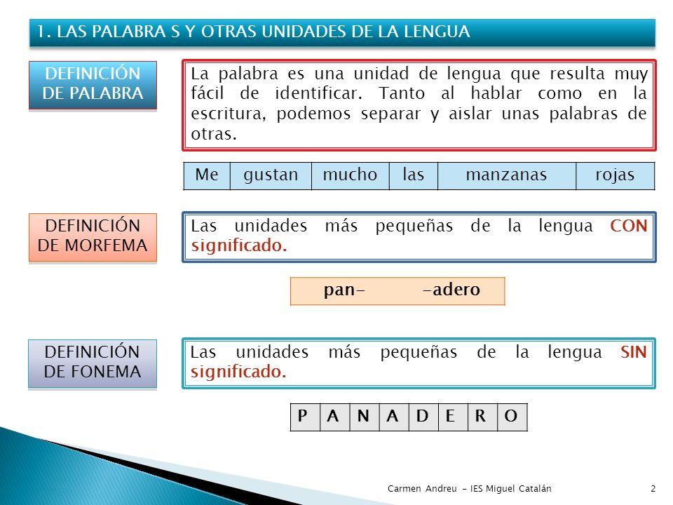 1. LAS PALABRA S Y OTRAS UNIDADES DE LA LENGUA