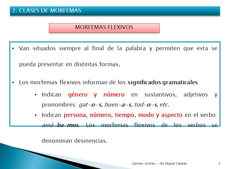 Los morfemas flexivos informan de los significados gramaticales: