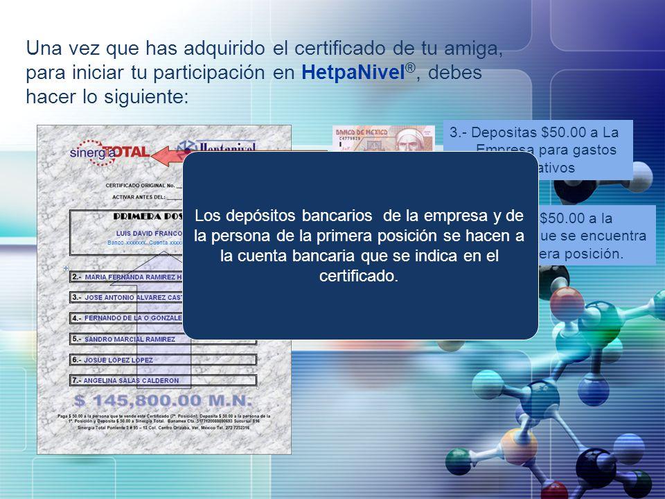 Una vez que has adquirido el certificado de tu amiga, para iniciar tu participación en HetpaNivel®, debes hacer lo siguiente: