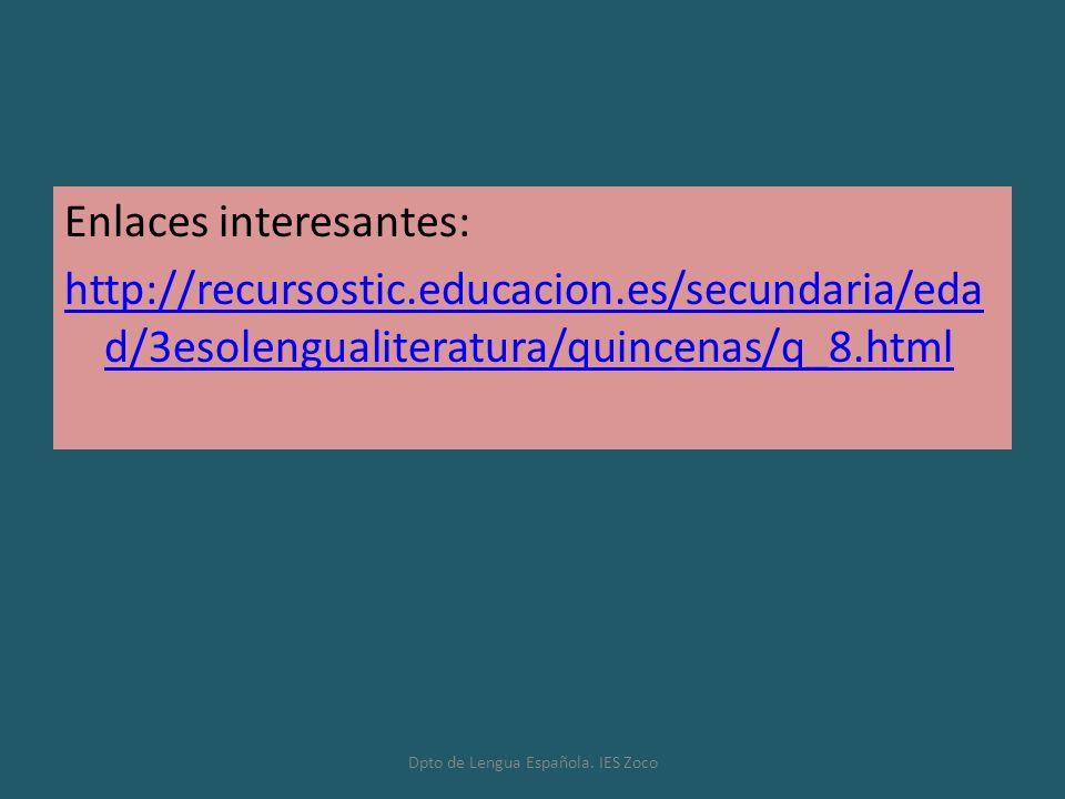 Dpto de Lengua Española. IES Zoco