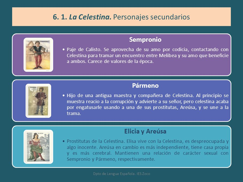 6. 1. La Celestina. Personajes secundarios